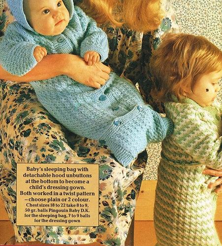 8021P baby sleeping bag vintage knitting pattern PDF Download