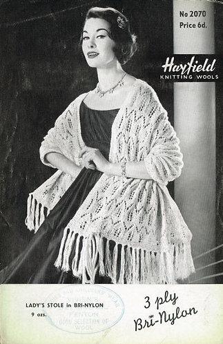 2070H ladies wrap Vintage knititng pattern  PDF Download