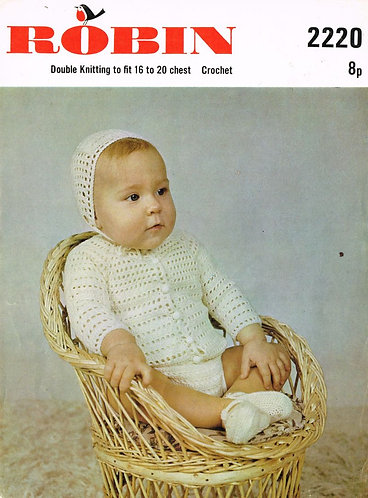 2220R baby cardigan vintage crochet pattern  PDF Download