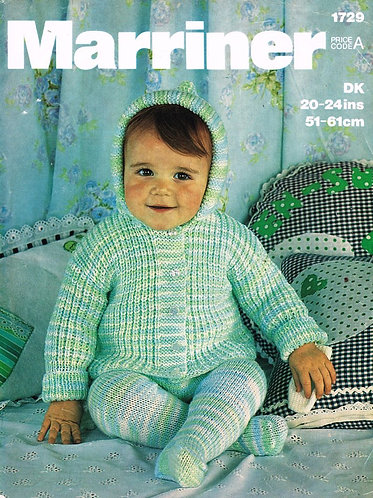 1729M baby pram suit vintage knitting pattern  PDF Download