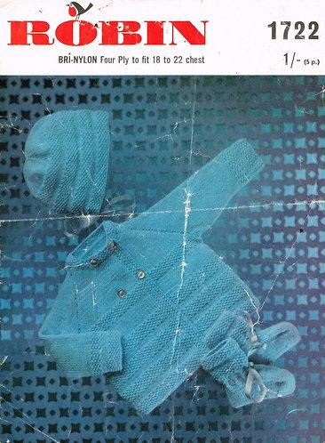 1722R baby matinee coat set vintage knitting pattern  PDF Download