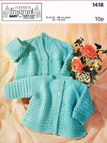 1418P baby matinee coat vintage knitting pattern  PDF Download