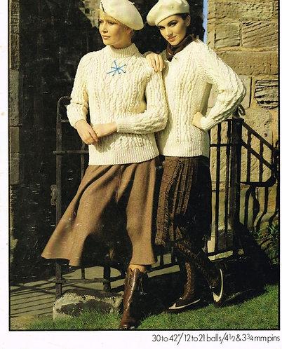 1955H ladies aran jumper Vintage knititng pattern  PDF Download