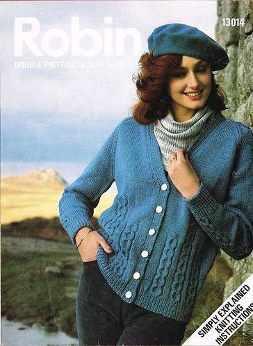 13014R ladies cardigan vintage knitting pattern  PDF Download