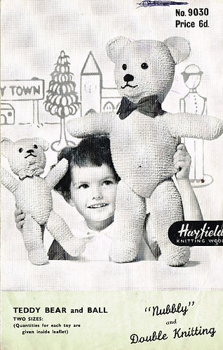 9030H teddy bear toy vintage knitting pattern  PDF Download