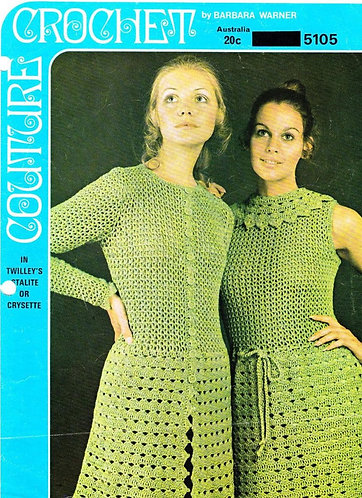 5105BW ladies dress and coat vintage crochet pattern PDF
