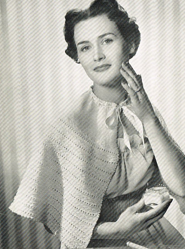 475P ladies cape vintage knitting pattern  PDF Download
