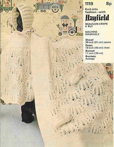 1119H baby matinee dress set shawl vintage knitting pattern  PDF Download
