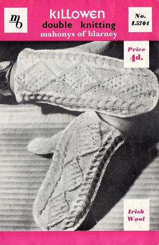 5704K ladies aran mittens vintage knitting pattern  PDF Download
