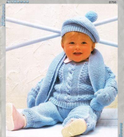 8758P baby jumper set vintage knitting pattern  PDF Download