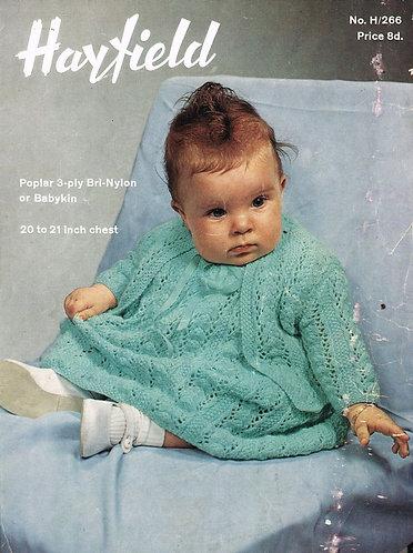 266H baby dress set vintage knitting pattern  PDF Download