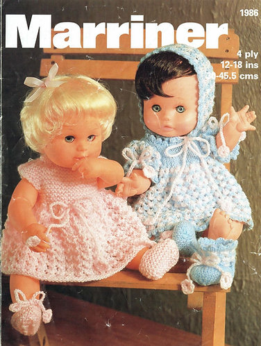 1986M dolls clothes vintage knitting pattern  PDF Download