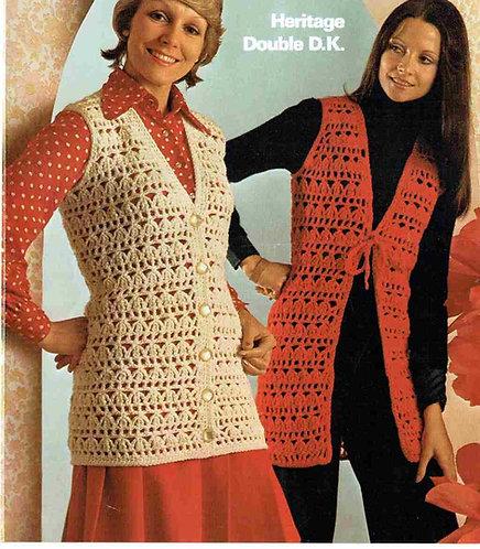 1601 ladies waistcoat Vintage crochet pattern  PDF Download