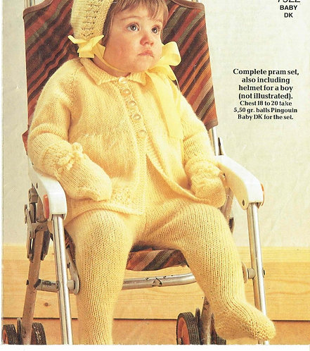 7922P baby pram suit vintage knitting pattern  PDF Download