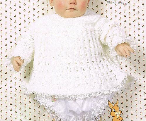 1900H baby dress vintage knitting pattern  PDF Download