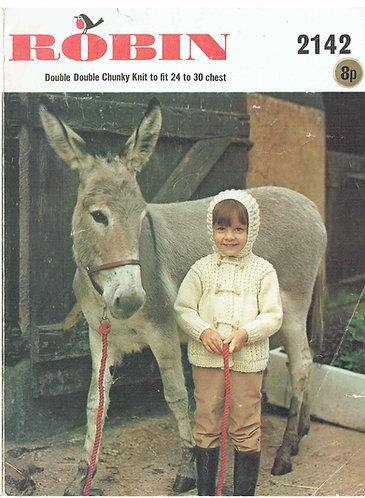 2142R childrens hoodie cardigan vintage knitting pattern  PDF Download