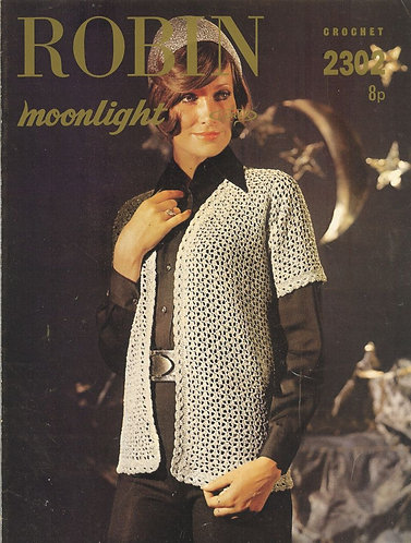 2302R ladies short sleeve cardigan vintage crochet pattern  PDF Download