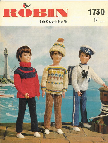1730R fashion dolls clothes vintage knitting pattern  PDF Download