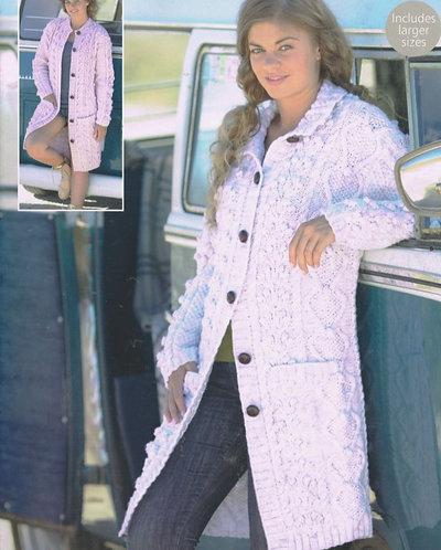9571 ladies aran cardigan Vintage knitting pattern  PDF Download