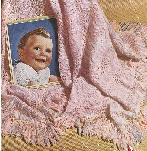 320M baby shawl vintage knitting pattern  PDF Download