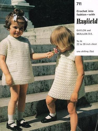 711H baby dress vintage knitting pattern  PDF Download