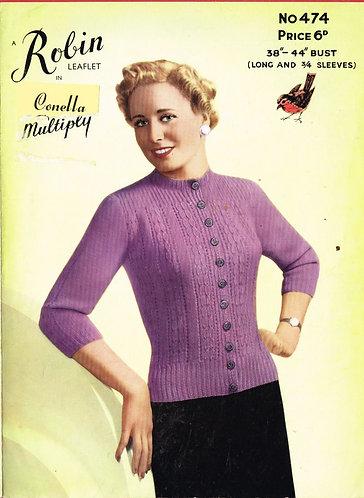 474R ladies cardigan vintage knitting pattern  PDF Download