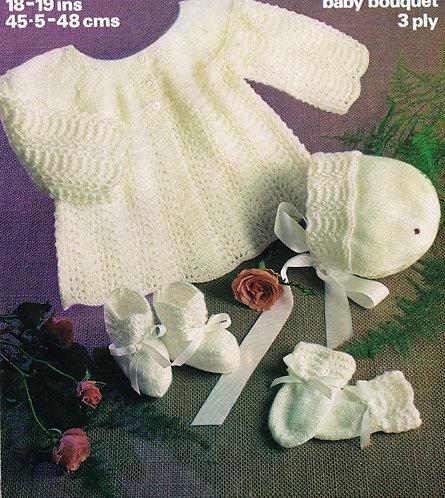 1917M baby matinee coat set vintage knitting pattern  PDF Download