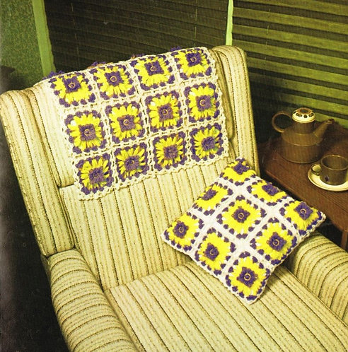 5983T flower loom cushion cover set vintage crochet pattern  PDF Download