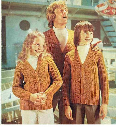 338 family cardigans  Vintage knitting pattern PDF download