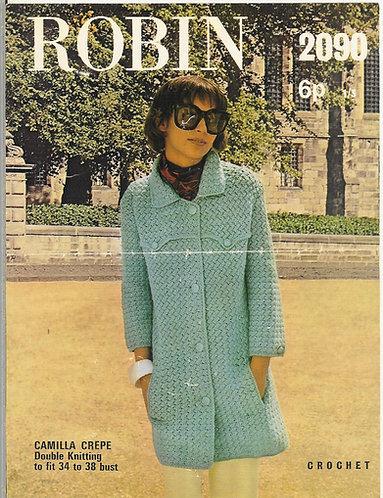 2090R ladies coat vintage crochet pattern  PDF Download