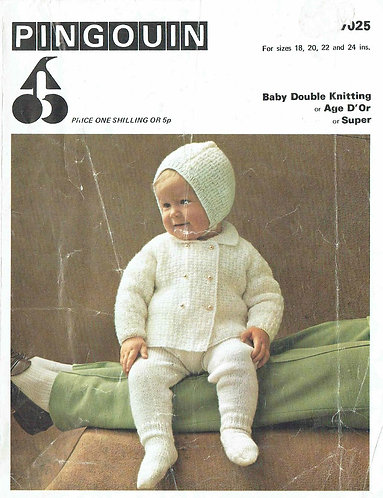 7025P baby pram suit vintage knitting pattern  PDF Download