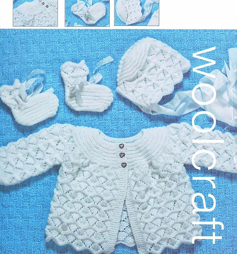 1030J baby matinee coat set vintage knitting pattern  PDF Download