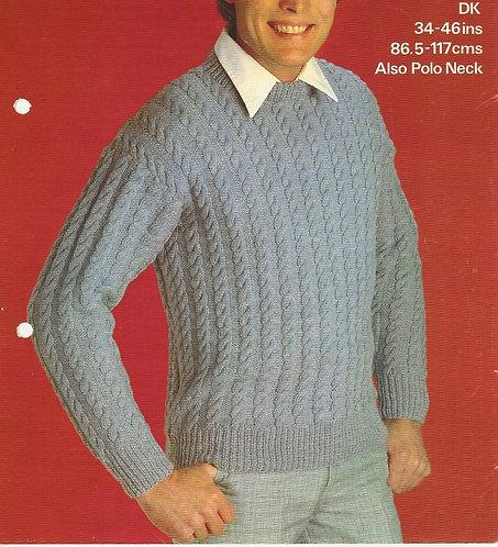 1873 mens v-neck jumper Vintage knitting pattern  PDF Download