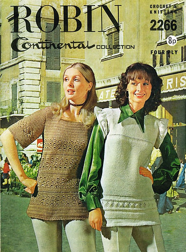 2266R ladies tunics vintage knitting and crochet pattern  PDF Download
