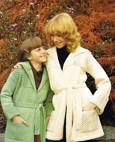 1343H mother and daughter cardigan coat Vintage knitting pattern  PDF Download