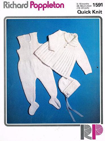 1591RP baby ram suit vintage knitting pattern  PDF Download
