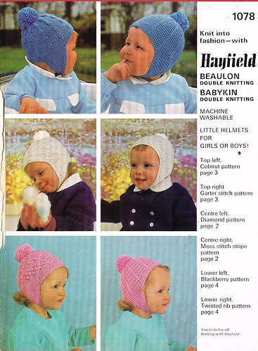 1078H baby hats vintage knitting pattern PDF Download