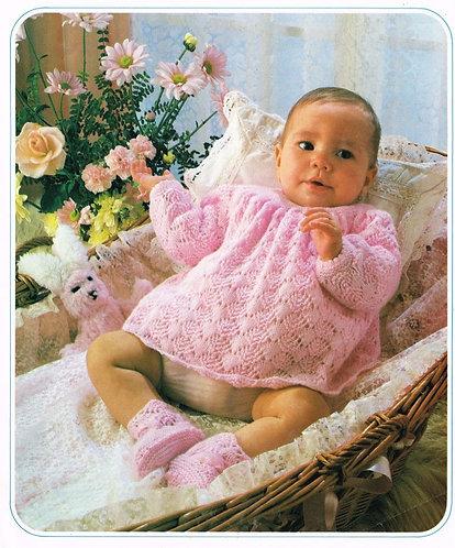 132K baby dress vintage knitting pattern  PDF Download