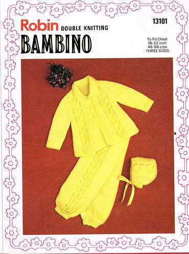 13101R baby pram suit vintage knitting pattern  PDF Download