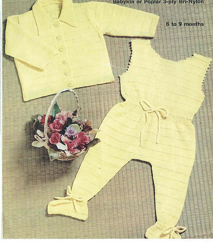 200H baby suit vintage knitting pattern  PDF Download