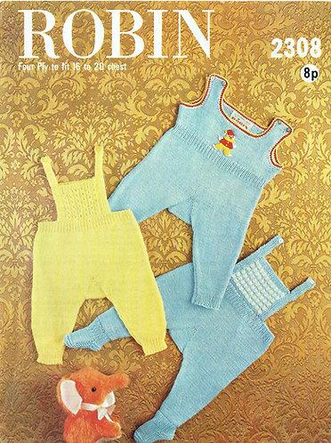 2308R baby romper suit set vintage knitting pattern  PDF Download