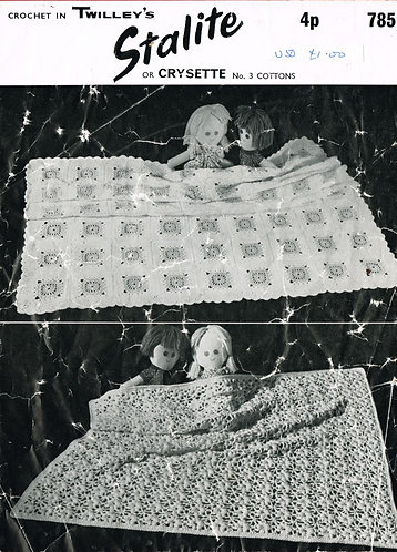 785T baby pram blanket vintage crochet pattern  PDF Download