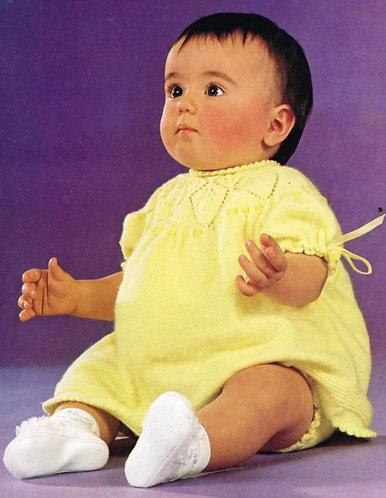 1556M baby dress vintage knitting pattern  PDF Download