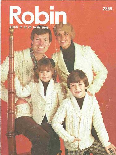2869R family aran cardigans vintage knitting pattern  PDF Download