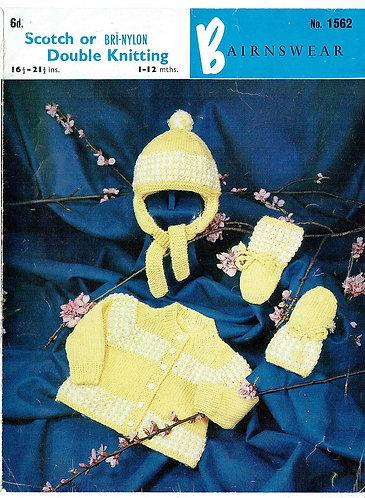 Bairnswear 1562 baby vintage knitting pattern PDF