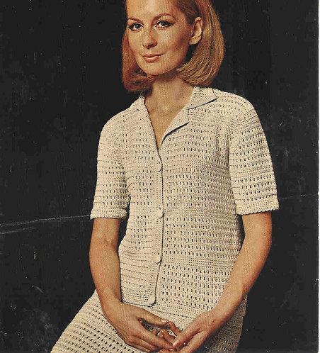 779T ladies cardigan skirt suit vintage crochet pattern  PDF Download