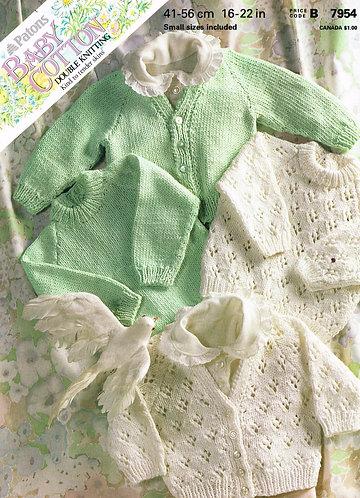 7954P baby cardigans Vintage knitting pattern  PDF Download