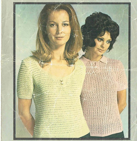 5881T ladies top vintage knitting and crochet pattern  PDF Download