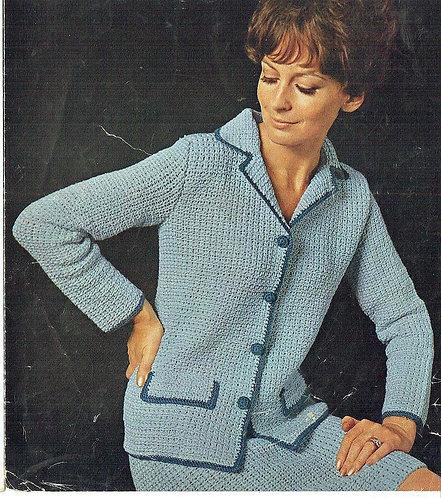 792T ladies cardigan skirt suit vintage crochet pattern  PDF Download