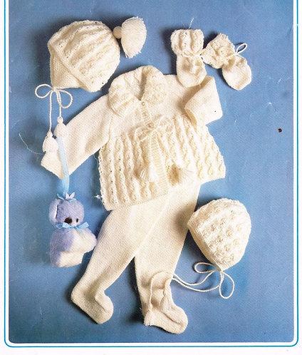 137K baby pram suit vintage knitting pattern  PDF Download
